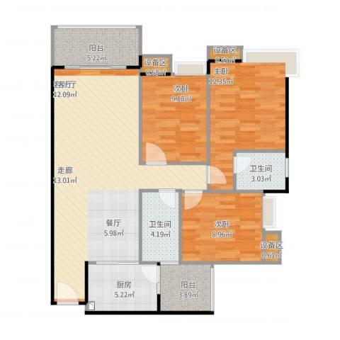 联运怡景苑3室2厅2卫1厨117.00㎡户型图