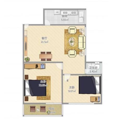 金鸡亭西林东里2室1厅1卫1厨72.00㎡户型图