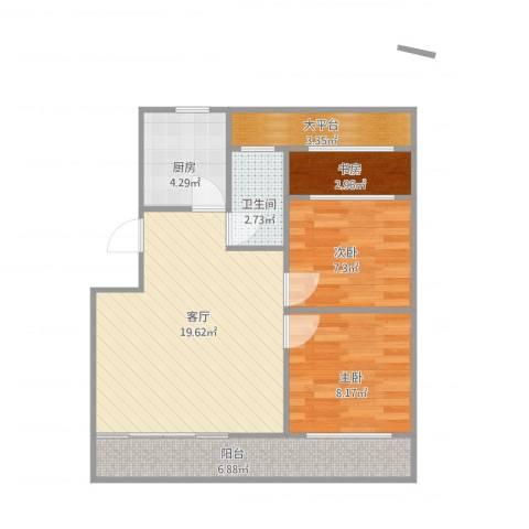北城嘉园3室1厅1卫1厨76.00㎡户型图