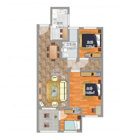 常发御龙山住宅3室1厅1卫1厨97.00㎡户型图