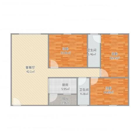 昌发楼3室2厅2卫1厨146.00㎡户型图