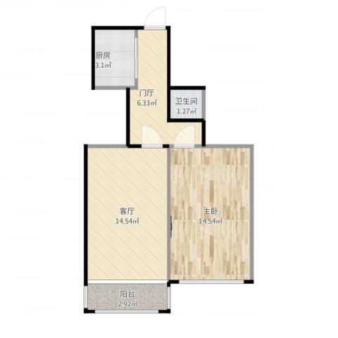 东直门北大街1室1厅1卫1厨58.00㎡户型图