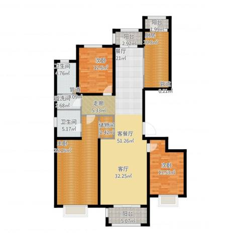 悦澜湾3室2厅2卫1厨196.00㎡户型图
