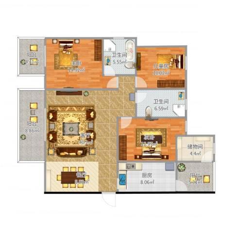 远大都市风景三期3室1厅2卫1厨163.00㎡户型图