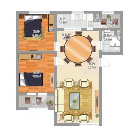 永华新城2室2厅1卫1厨91.00㎡户型图
