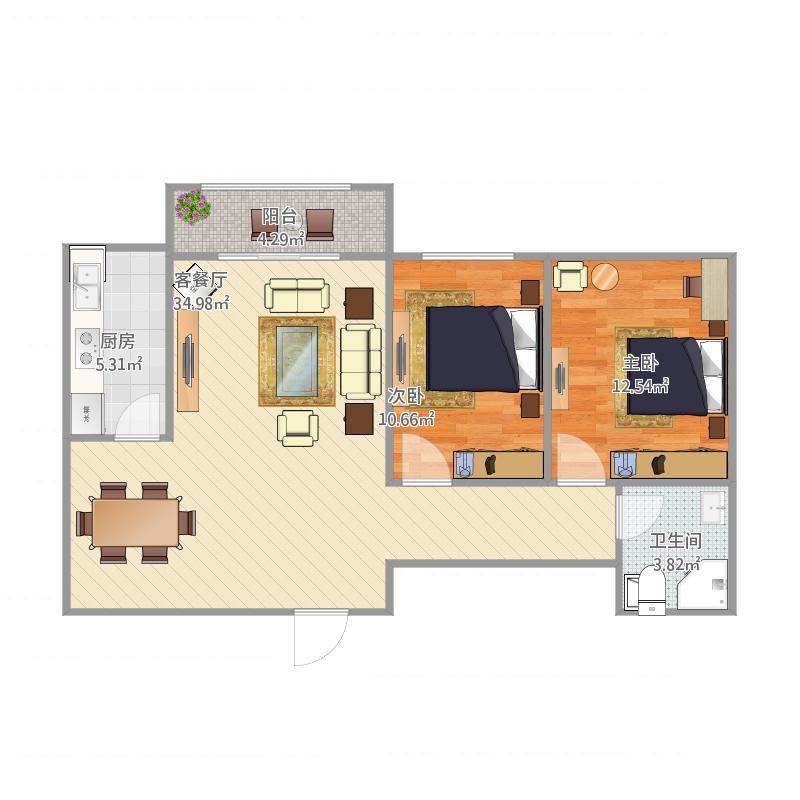 90平两室两厅