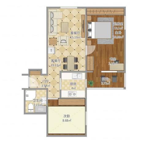 车公庄北里2室2厅1卫1厨73.00㎡户型图