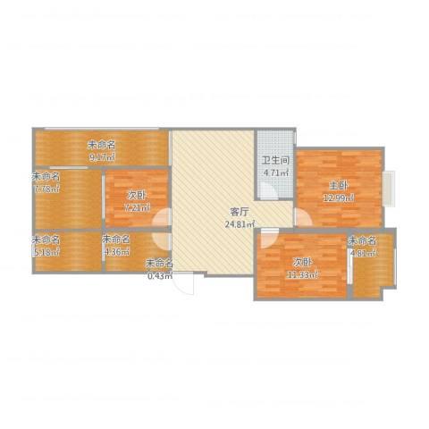 奥体清华苑3室1厅4卫1厨127.00㎡户型图
