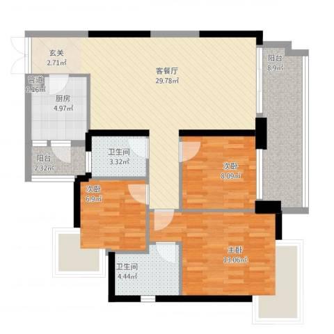 星际豪庭3室2厅2卫1厨118.00㎡户型图