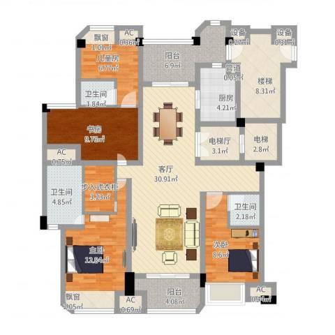 保利紫晶山4室1厅3卫1厨170.00㎡户型图
