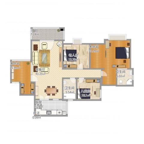军安卫士花园2室2厅3卫1厨186.00㎡户型图
