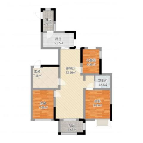 山湖湾3室2厅1卫1厨102.00㎡户型图