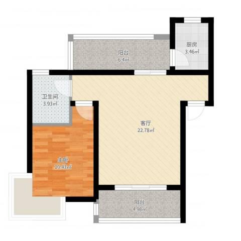 立立依山郡1室1厅1卫1厨76.00㎡户型图