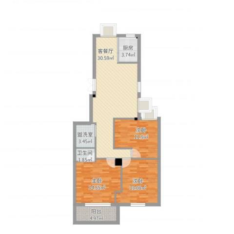 名豪白云山庄3室4厅1卫1厨120.00㎡户型图