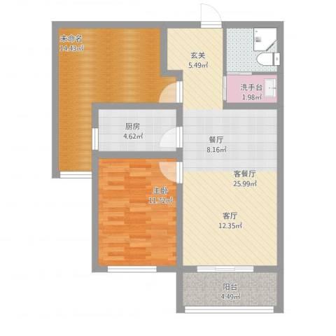 鹿城一号2室2厅2卫1厨96.00㎡户型图