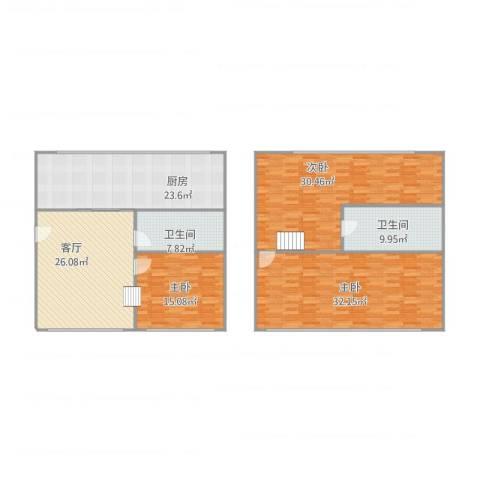 亿达国际新城3室1厅2卫1厨192.00㎡户型图