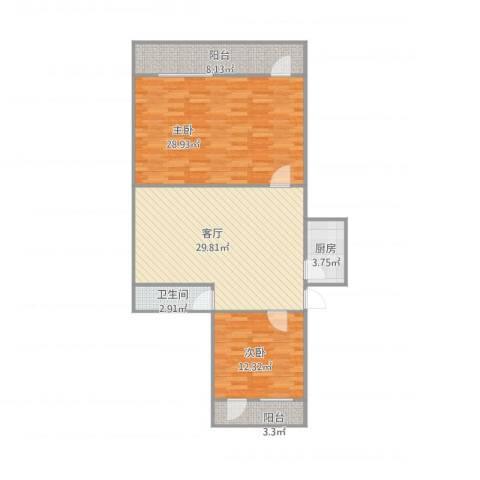 玉函小区111112室1厅1卫1厨119.00㎡户型图