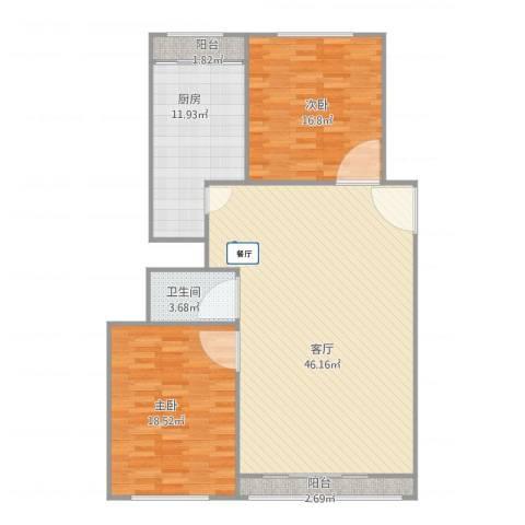 林栖园2室1厅1卫1厨135.00㎡户型图