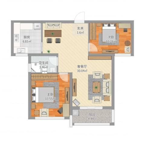 洪福小区三期2室2厅1卫1厨97.00㎡户型图