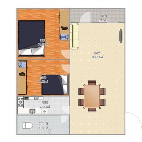 电厂宿舍2室1厅1卫1厨511.00㎡户型图