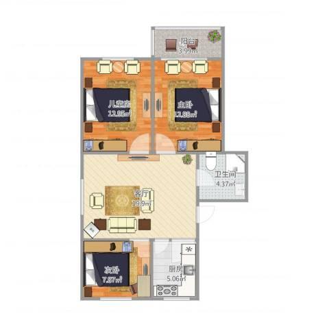 盛华园3室1厅1卫1厨90.00㎡户型图