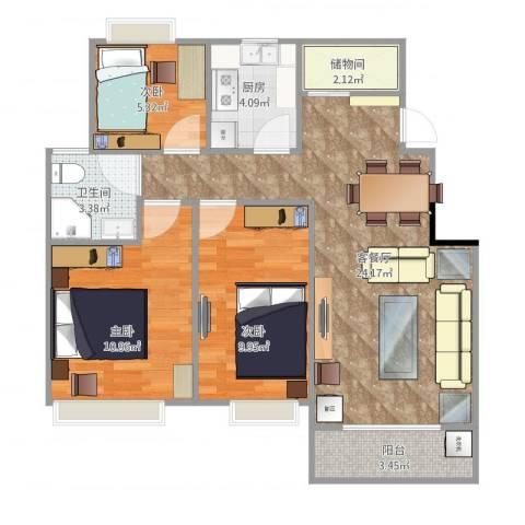 澳海胥江湾3室2厅1卫1厨87.00㎡户型图