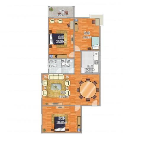 铁路小区3室3厅1卫1厨141.00㎡户型图