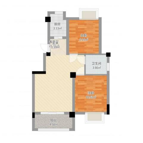 澳海胥江湾2室2厅1卫1厨77.00㎡户型图