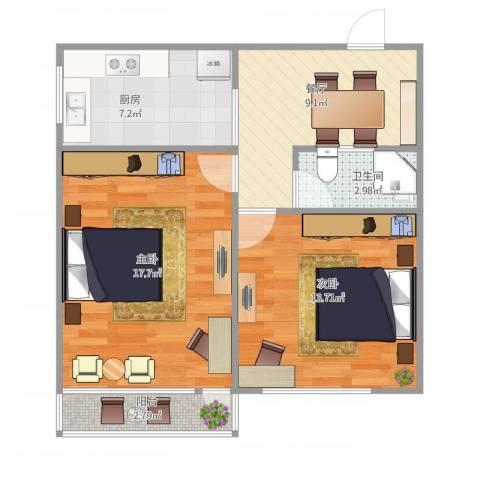 由由二村2室1厅1卫1厨72.00㎡户型图