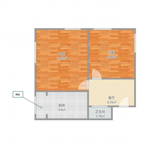 桃花园南里2室1厅1卫1厨75.00㎡户型图