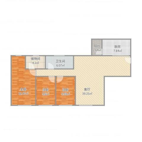 金海花园105方户型图3室1厅1卫1厨131.00㎡户型图