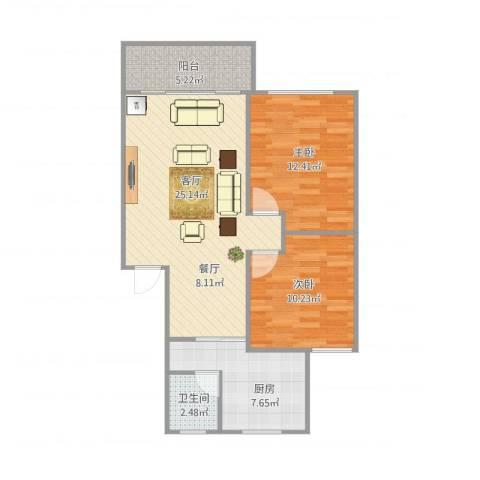 浦发绿城2079弄小区2室1厅1卫1厨85.00㎡户型图