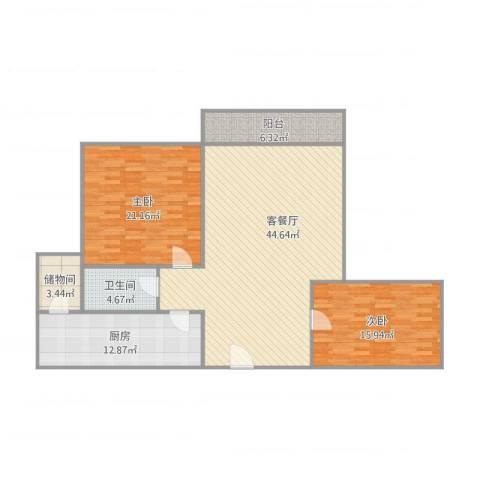 重汽翡翠东郡2室2厅1卫1厨145.00㎡户型图