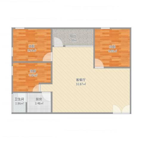 豪贤苑13013室2厅1卫1厨94.00㎡户型图