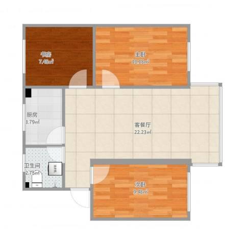 兰花小区3室2厅1卫1厨76.00㎡户型图
