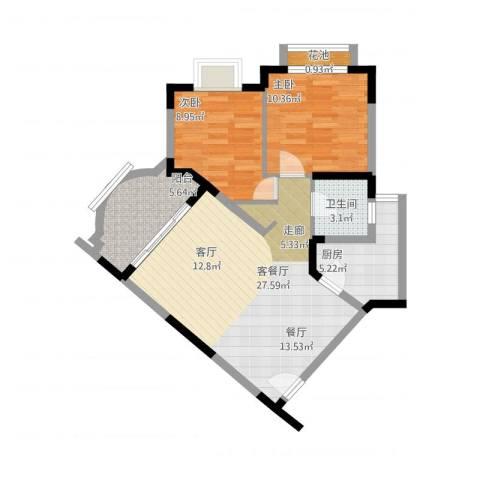 碧泉花园2室2厅2卫1厨89.00㎡户型图