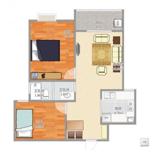 铁静苑2室2厅2卫1厨75.00㎡户型图
