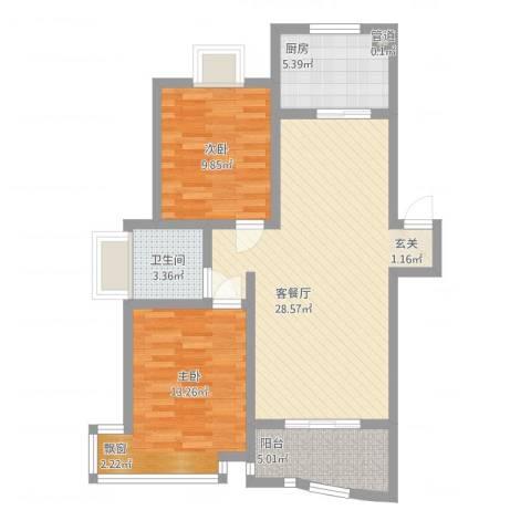 金典名筑2室2厅1卫1厨95.00㎡户型图