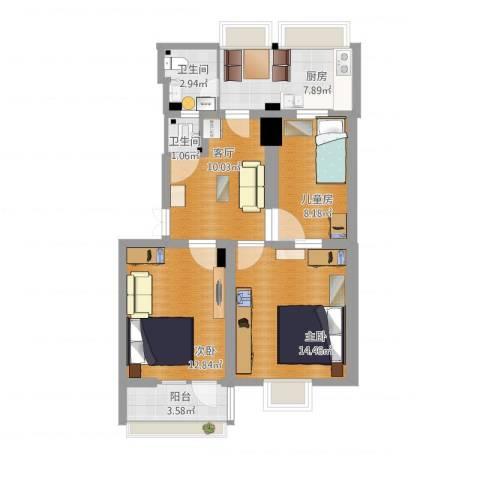 经十一路学区房3室1厅2卫1厨91.00㎡户型图