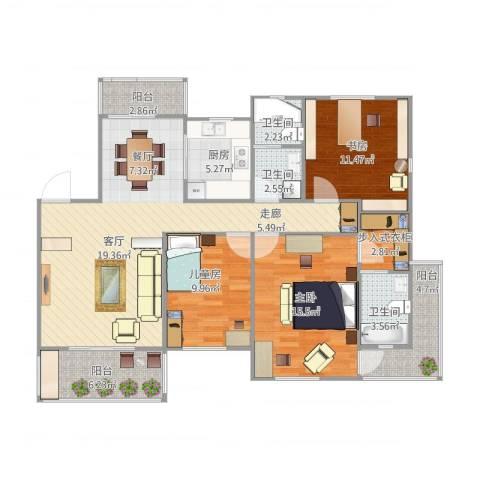 欧洲城3室1厅3卫1厨135.00㎡户型图