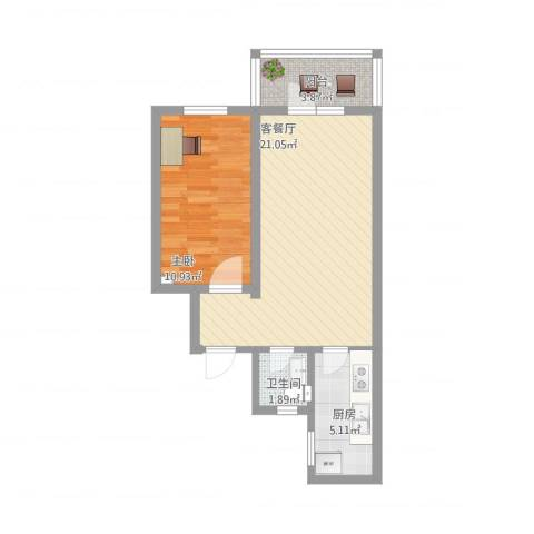 景福里1室2厅1卫1厨62.00㎡户型图