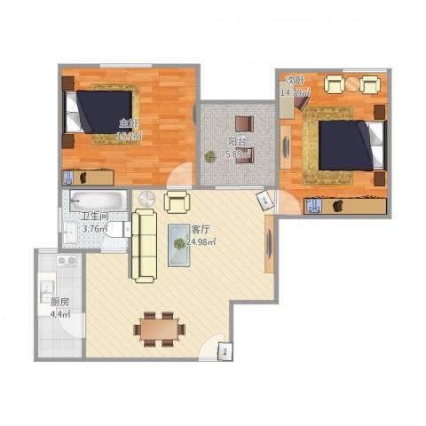 金禾新苑24号2室1厅1卫1厨92.00㎡户型图