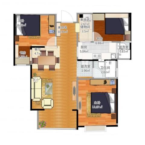 德润万象城3室2厅2卫1厨98.00㎡户型图