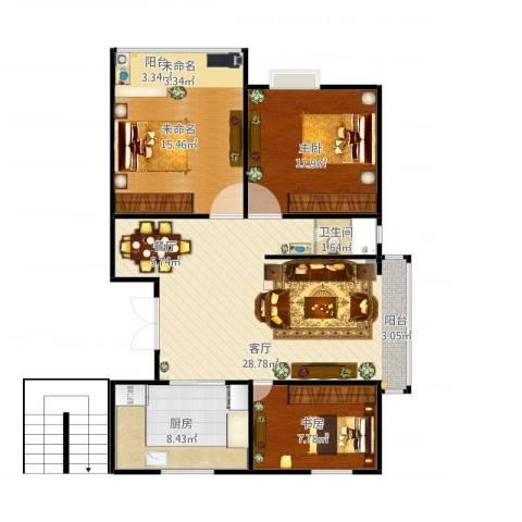 盛泰丹桂苑2室1厅1卫1厨99.00㎡户型图