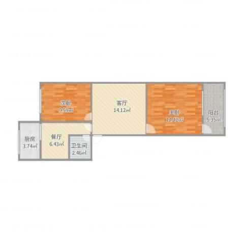 北园大街单位宿舍2室2厅1卫1厨76.00㎡户型图
