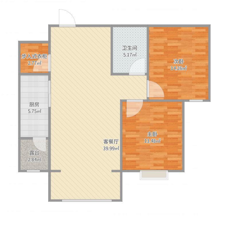 润发兰庭104方B2户型两室两厅一卫
