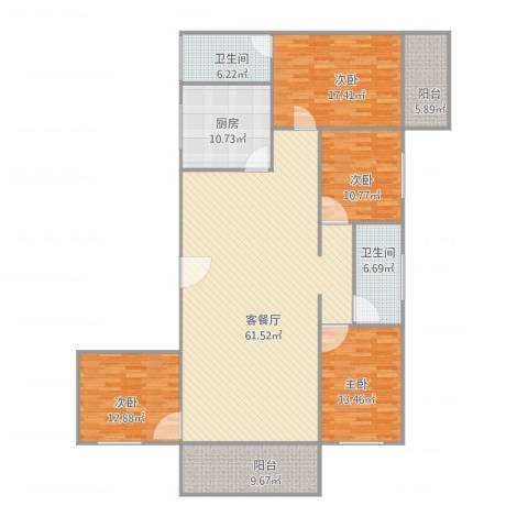 源隆花园4室2厅2卫1厨206.00㎡户型图
