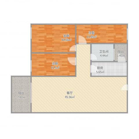 汇华名居3室1厅1卫1厨138.00㎡户型图