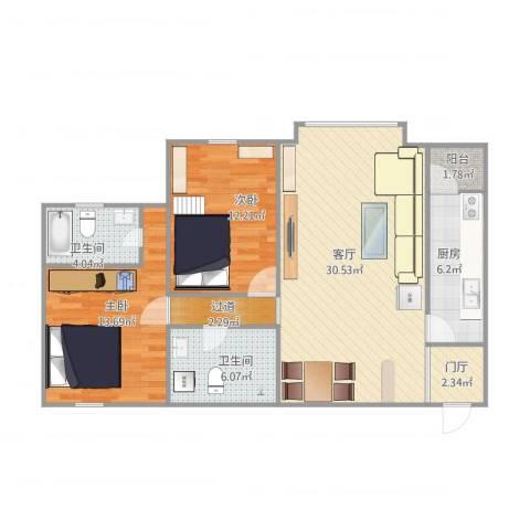 北苑家园茉藜园2室1厅2卫1厨107.00㎡户型图