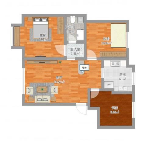 荷兰小镇二期3室3厅1卫1厨103.00㎡户型图